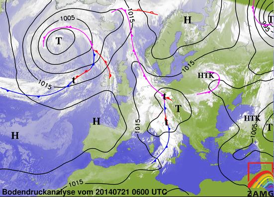 Bodenwetterkarte vom 21.Juli 2014
