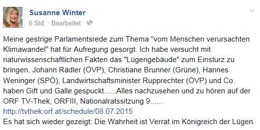 Susanne Winter auf Facebook